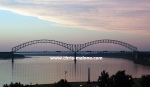 "The ""M"" bridge (Hernado DeSoto Bridge) Downtown Memphis"